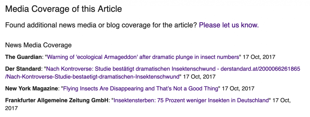 Example media coverage from an article on a PLOS journal