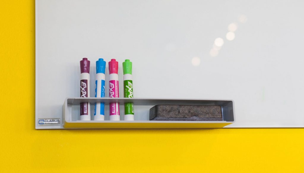 Photo of whiteboard and markers
